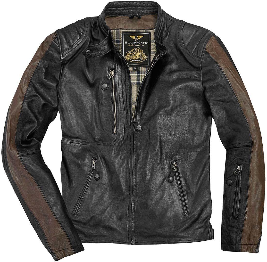 Black-Cafe London Vintage Veste en cuir de moto Noir Brun taille : 50
