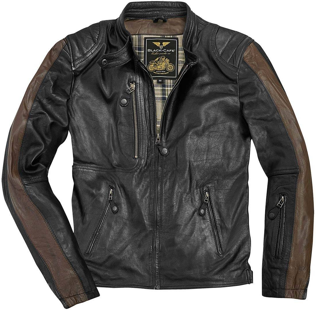 Black-Cafe London Vintage Veste en cuir de moto Noir Brun taille : 54