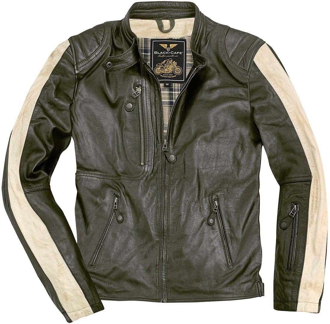 Black-Cafe London Vintage Veste en cuir de moto Vert taille : 54