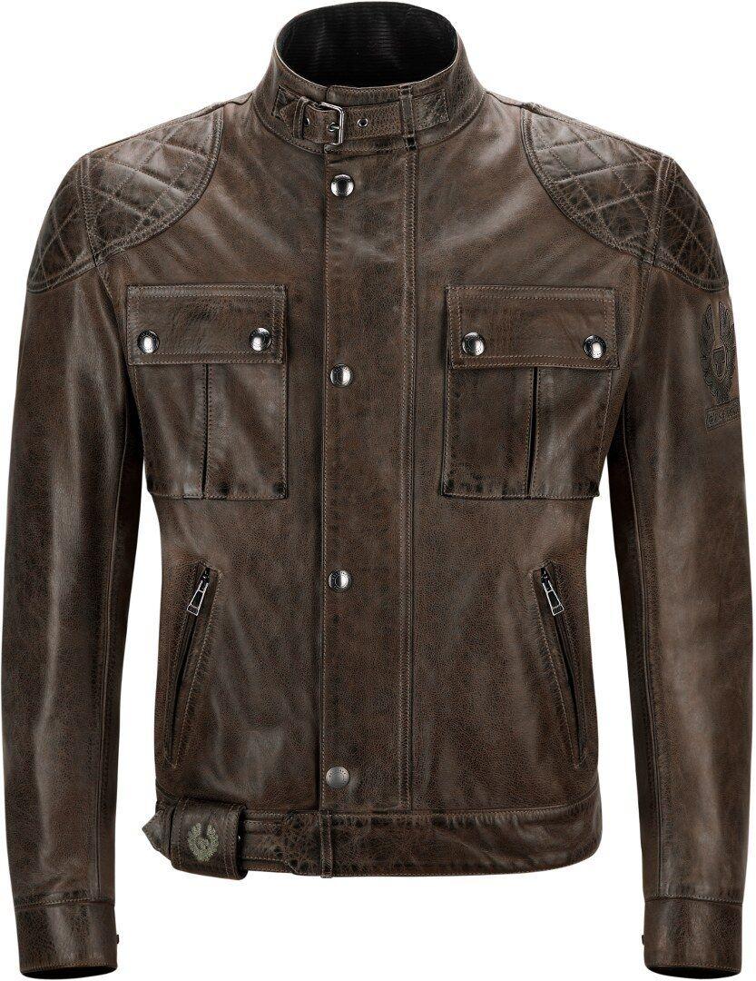 Belstaff Brooklands Veste de moto en cuir Noir Brun taille : XL