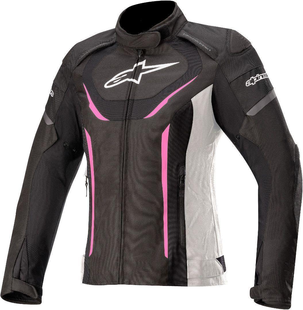 Alpinestars Stella T-Jaws V3 Veste imperméable à l'eau de textile de moto de dames Noir Blanc Rose taille : 2XL