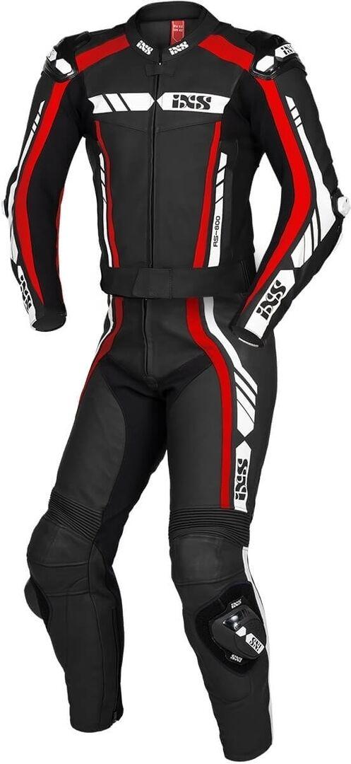 IXS Sport RS-800 1.0 Costume en cuir de moto de deux pièces Noir Blanc Rouge taille : 60