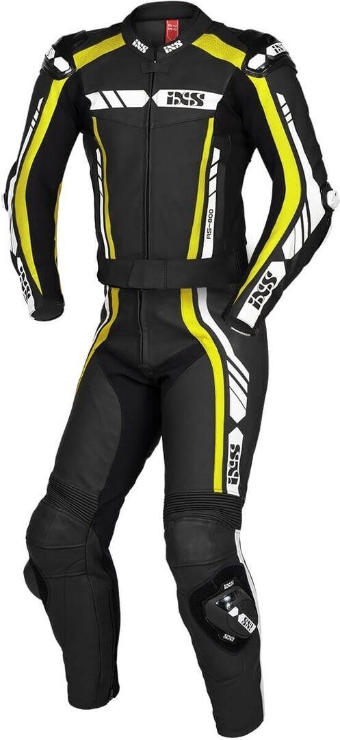 IXS Sport RS-800 1.0 Costume en cuir de moto de deux pièces Noir Blanc Jaune taille : S