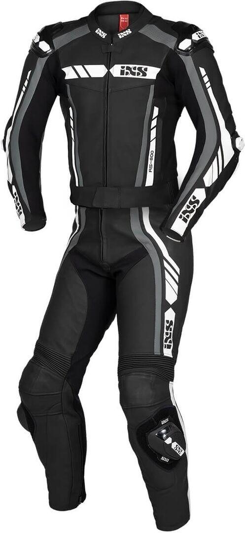 IXS Sport RS-800 1.0 Costume en cuir de moto de deux pièces Noir Gris Blanc taille : XL