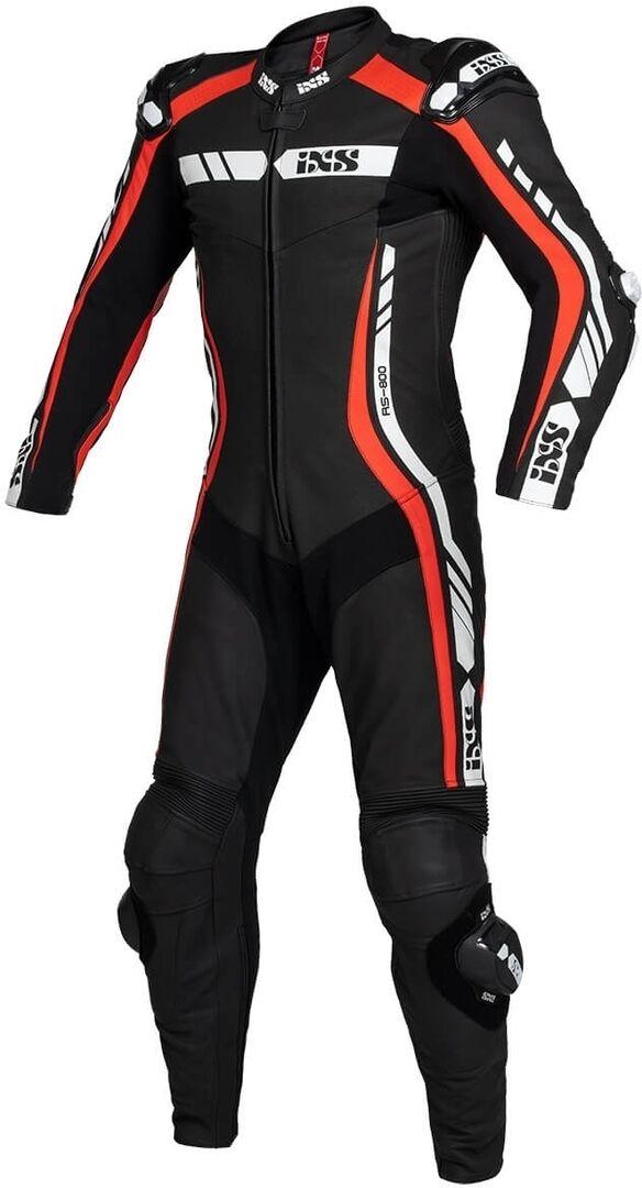 IXS Sport RS-800 1.0 Costume en cuir de moto d'une pièce Noir Blanc Rouge taille : 50