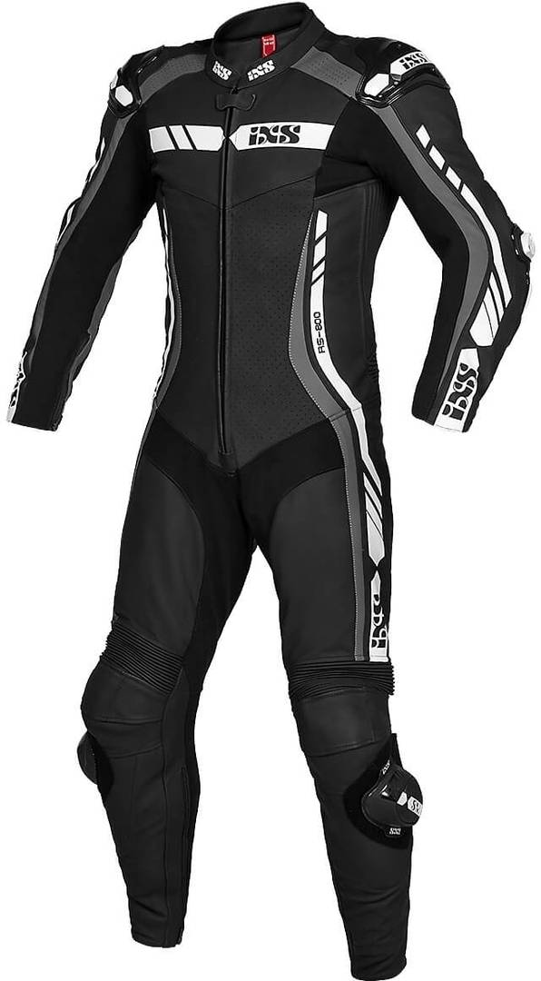 IXS Sport RS-800 1.0 Costume en cuir de moto d'une pièce Noir Gris Blanc taille : 50