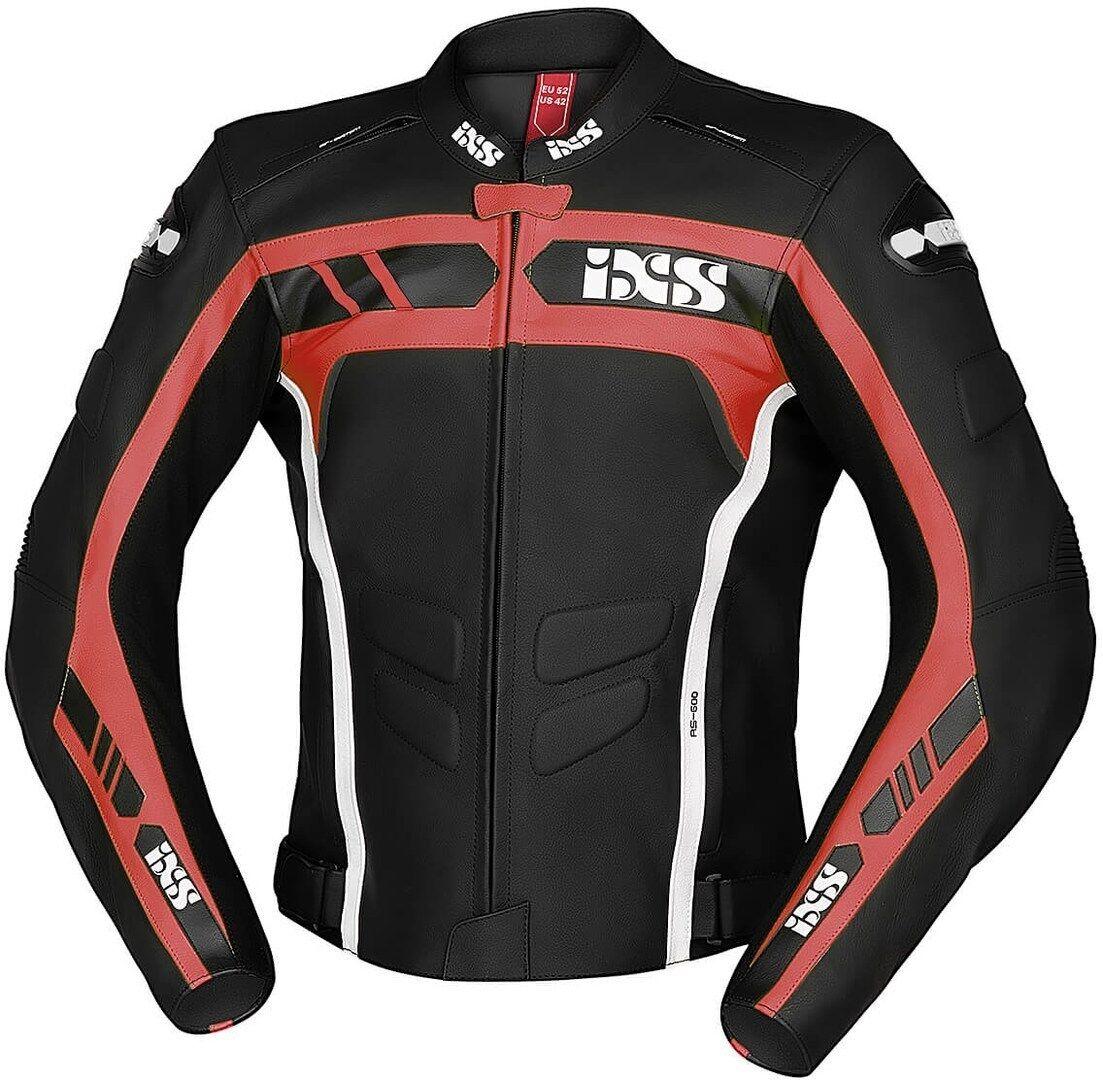 IXS Sport RS-600 1.0 Veste en cuir de moto Noir Blanc Rouge taille : 56