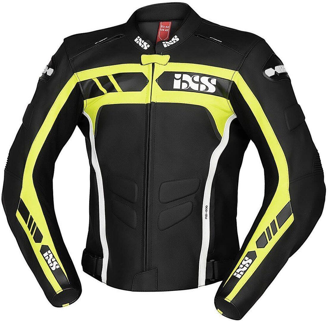 IXS Sport RS-600 1.0 Veste en cuir de moto Noir Jaune taille : 52
