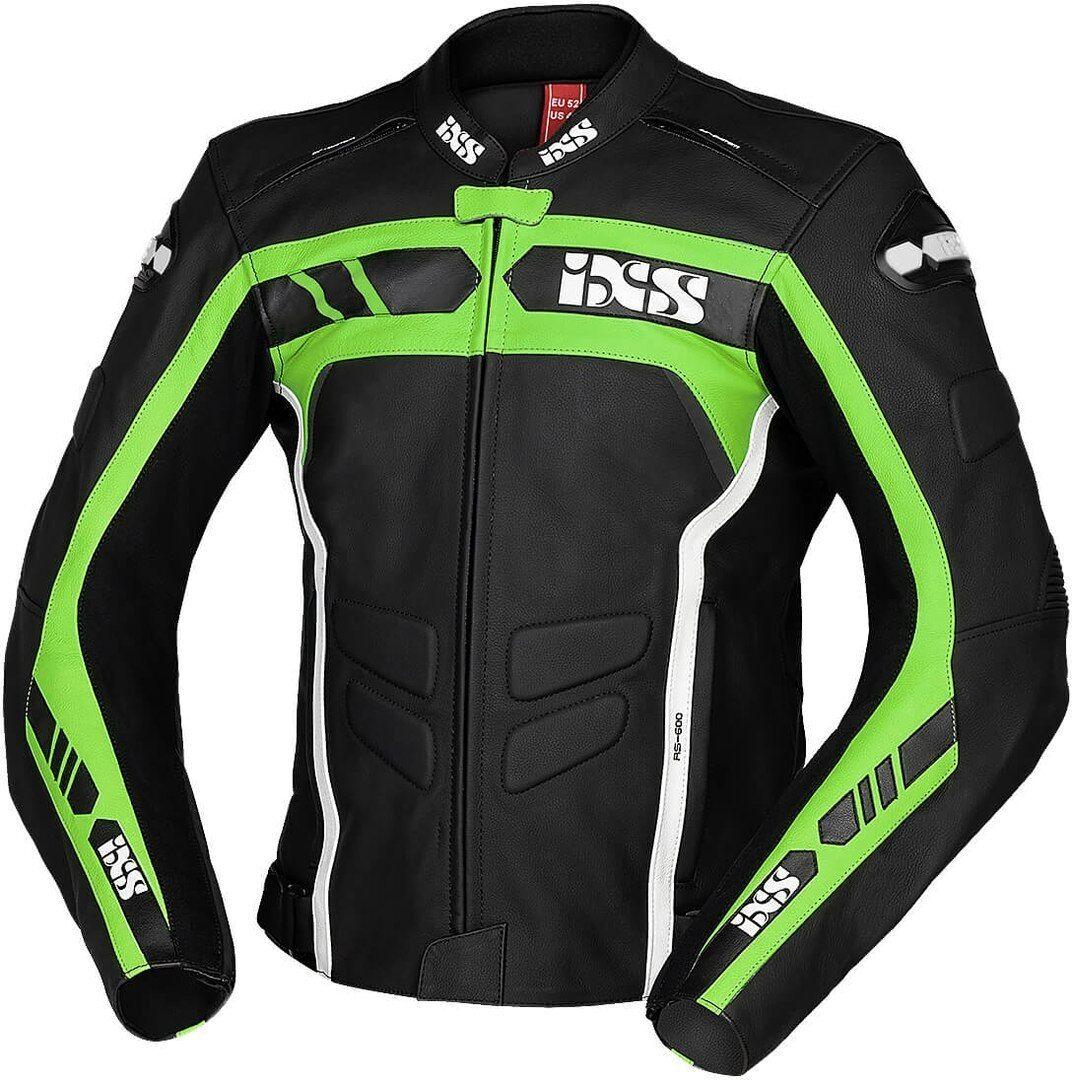 IXS Sport RS-600 1.0 Veste en cuir de moto Noir Blanc Vert taille : 62