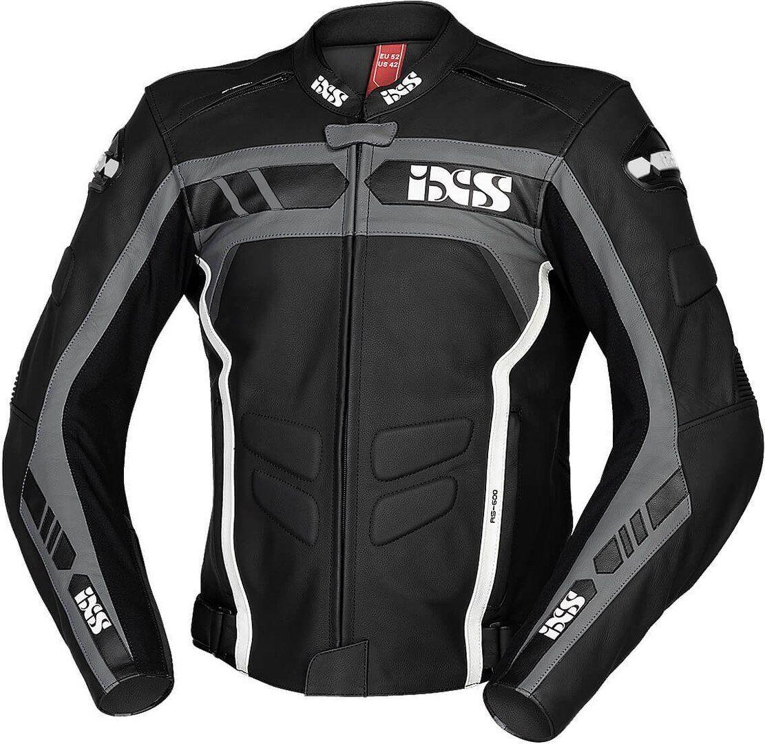 IXS Sport RS-600 1.0 Veste en cuir de moto Noir Gris Blanc taille : 52