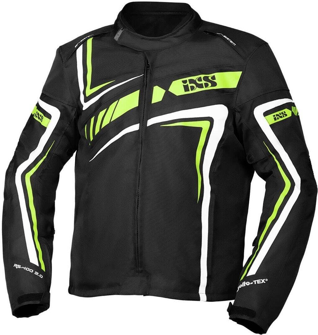 IXS Sport RS-400-ST 2.0 Veste textile de moto Noir Blanc Vert taille : M