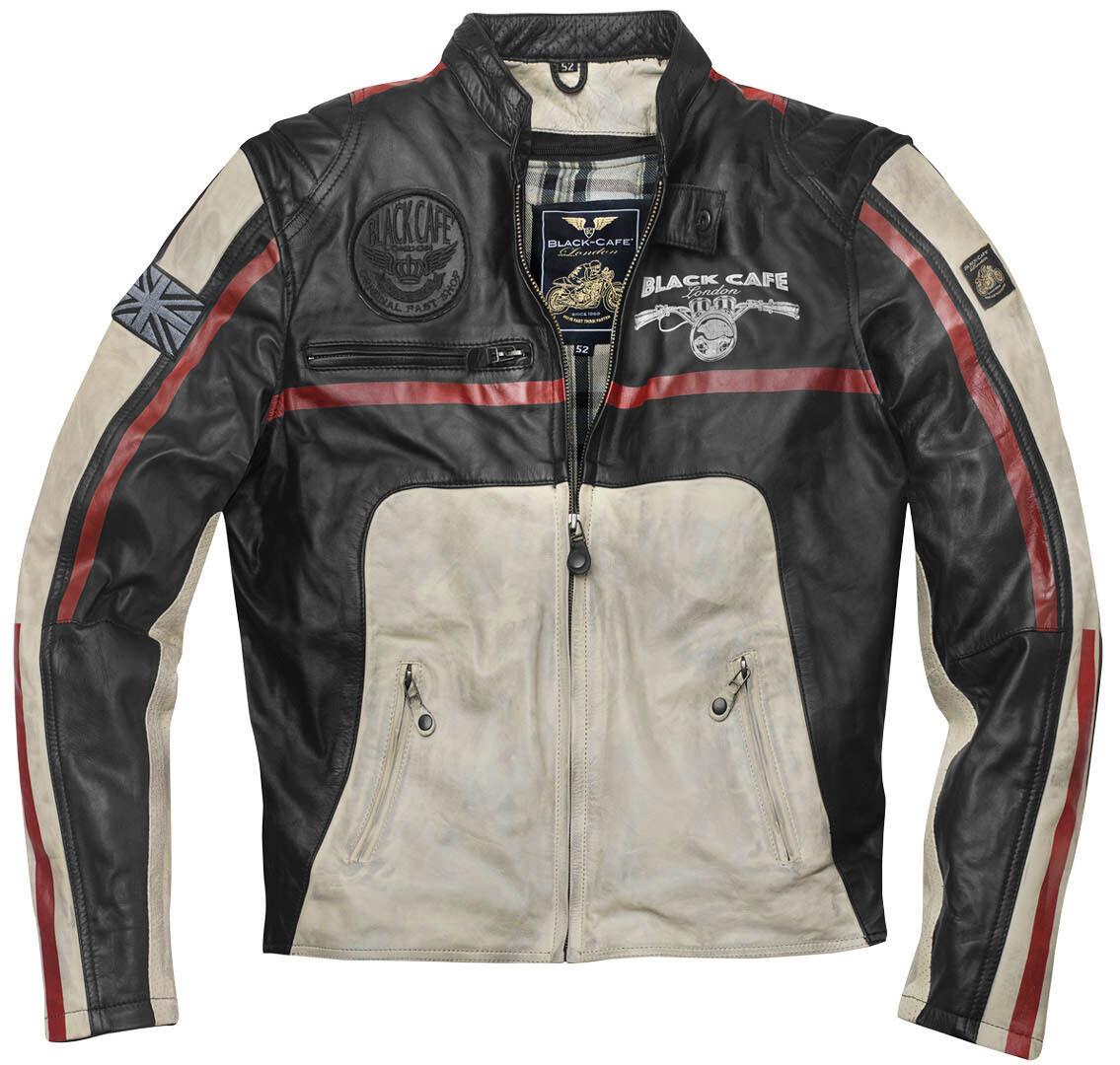 Black-Cafe London Dhaka Veste en cuir de moto Noir Blanc Rouge taille : 60