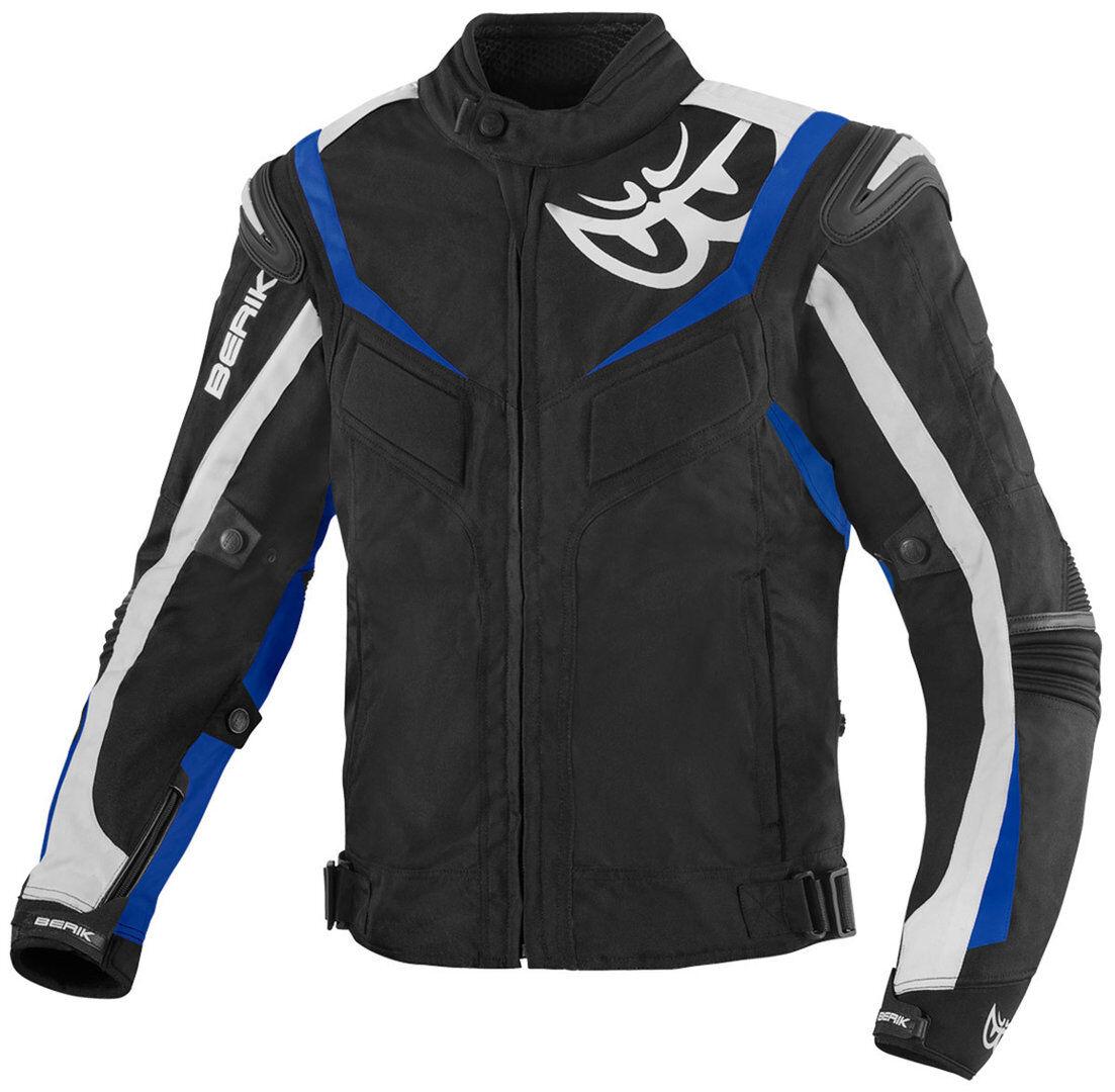 Berik Endurance Veste textile de moto imperméable à l'eau Noir Blanc Bleu taille : 50