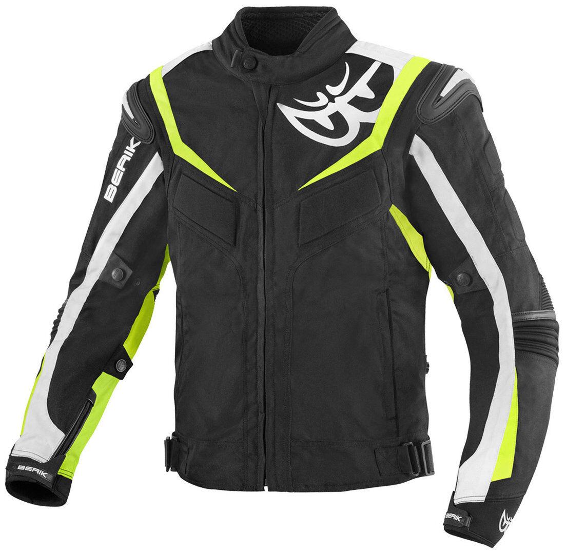 Berik Endurance Veste textile de moto imperméable à l'eau Noir Blanc Jaune taille : 52
