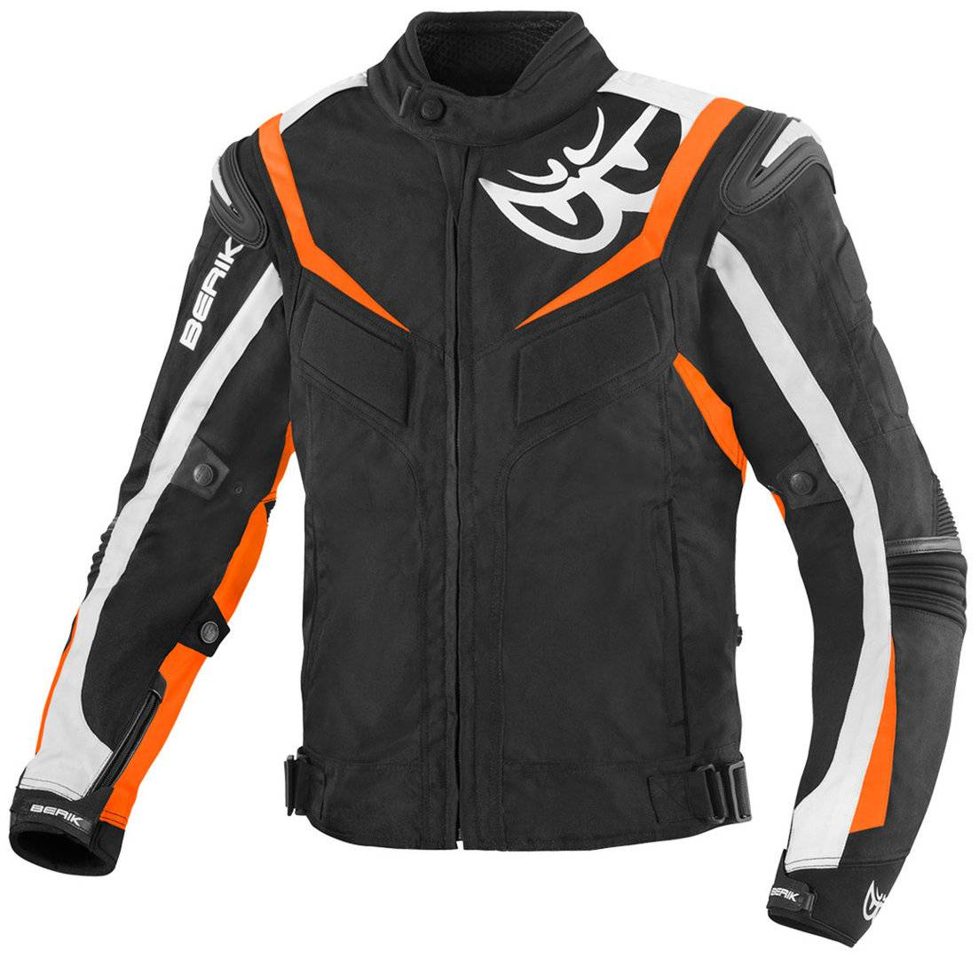 Berik Endurance Veste textile de moto imperméable à l'eau Noir Blanc Orange taille : 48