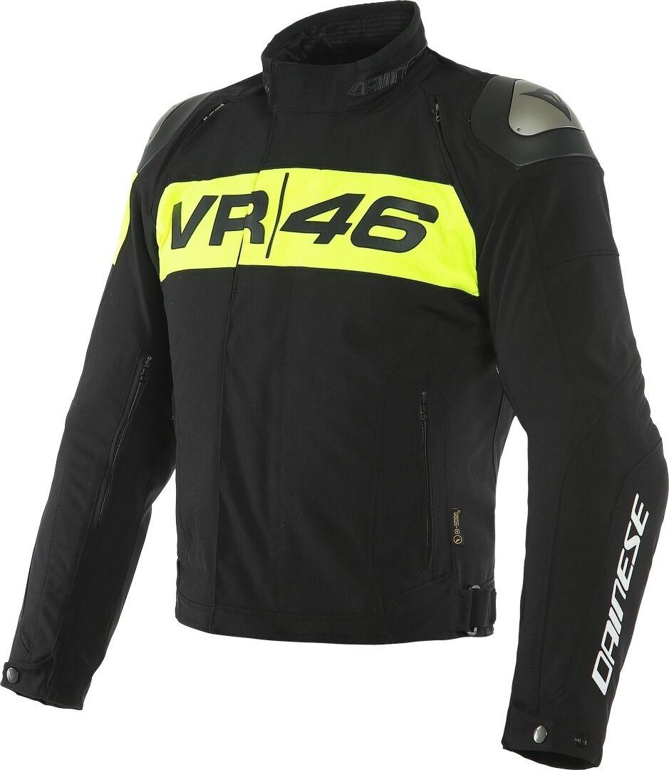 Dainese VR46 Podium D-Dry Veste textile de moto imperméable à l'eau Noir Jaune taille : 48
