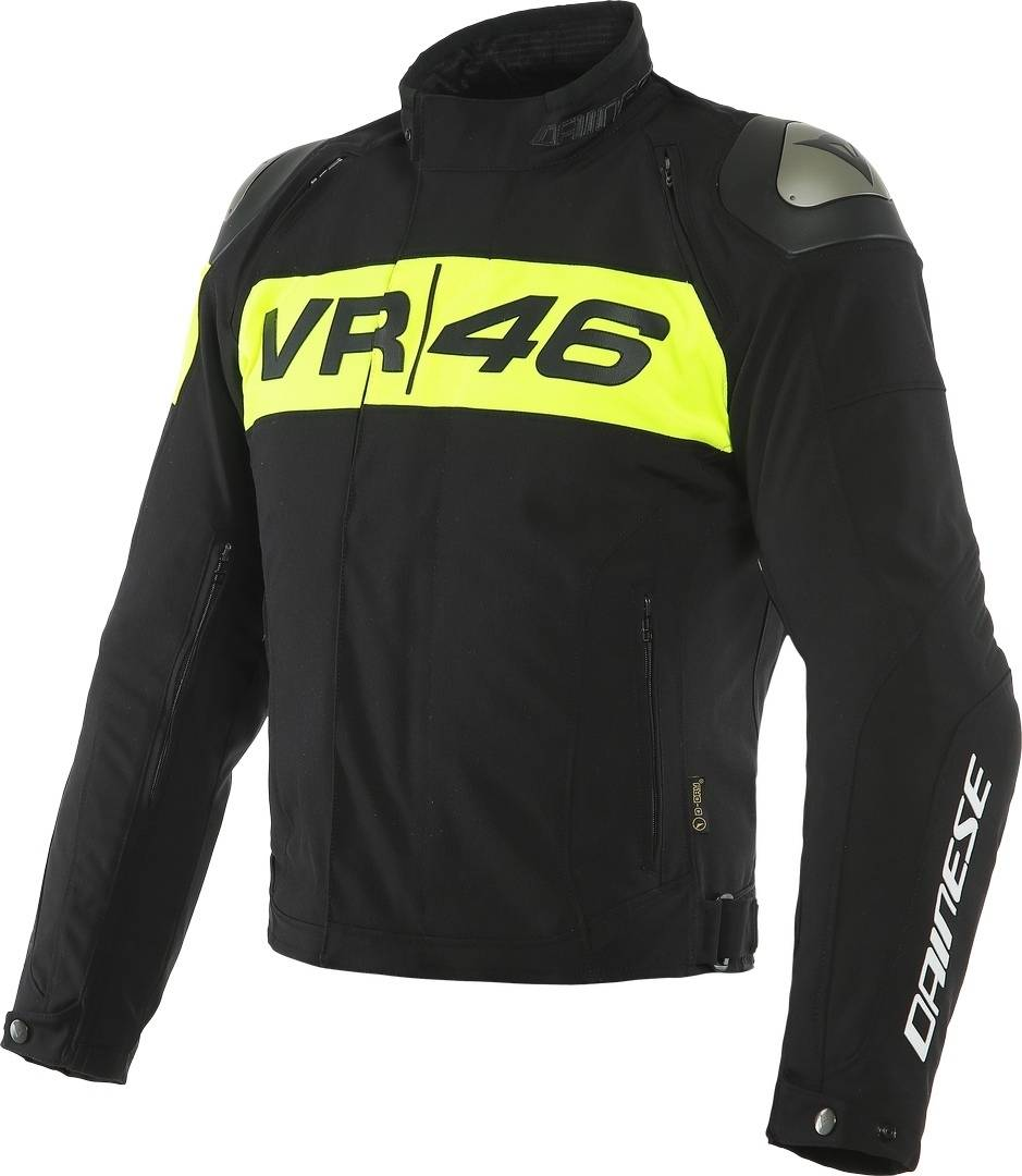 Dainese VR46 Podium D-Dry Veste textile de moto imperméable à l'eau Noir Jaune taille : 46