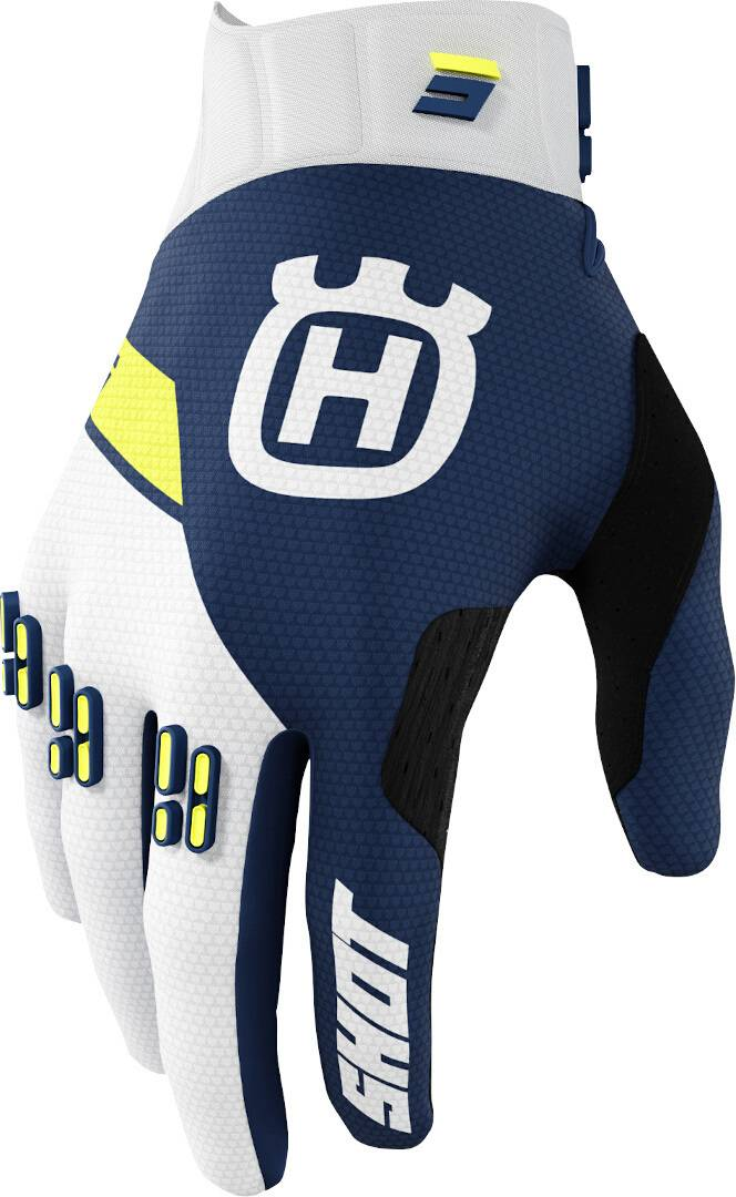 Shot Aerolite Husqvarna Limited Edition 2022 Gants de motocross Blanc Bleu Jaune taille : XL