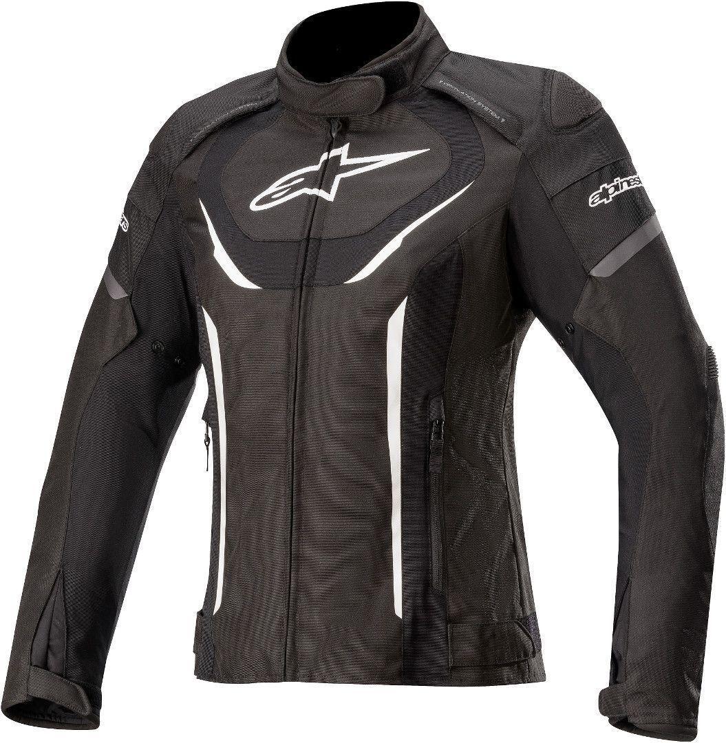 Alpinestars Stella T-Jaws V3 Veste imperméable à l'eau de textile de moto de dames Noir Blanc taille : M