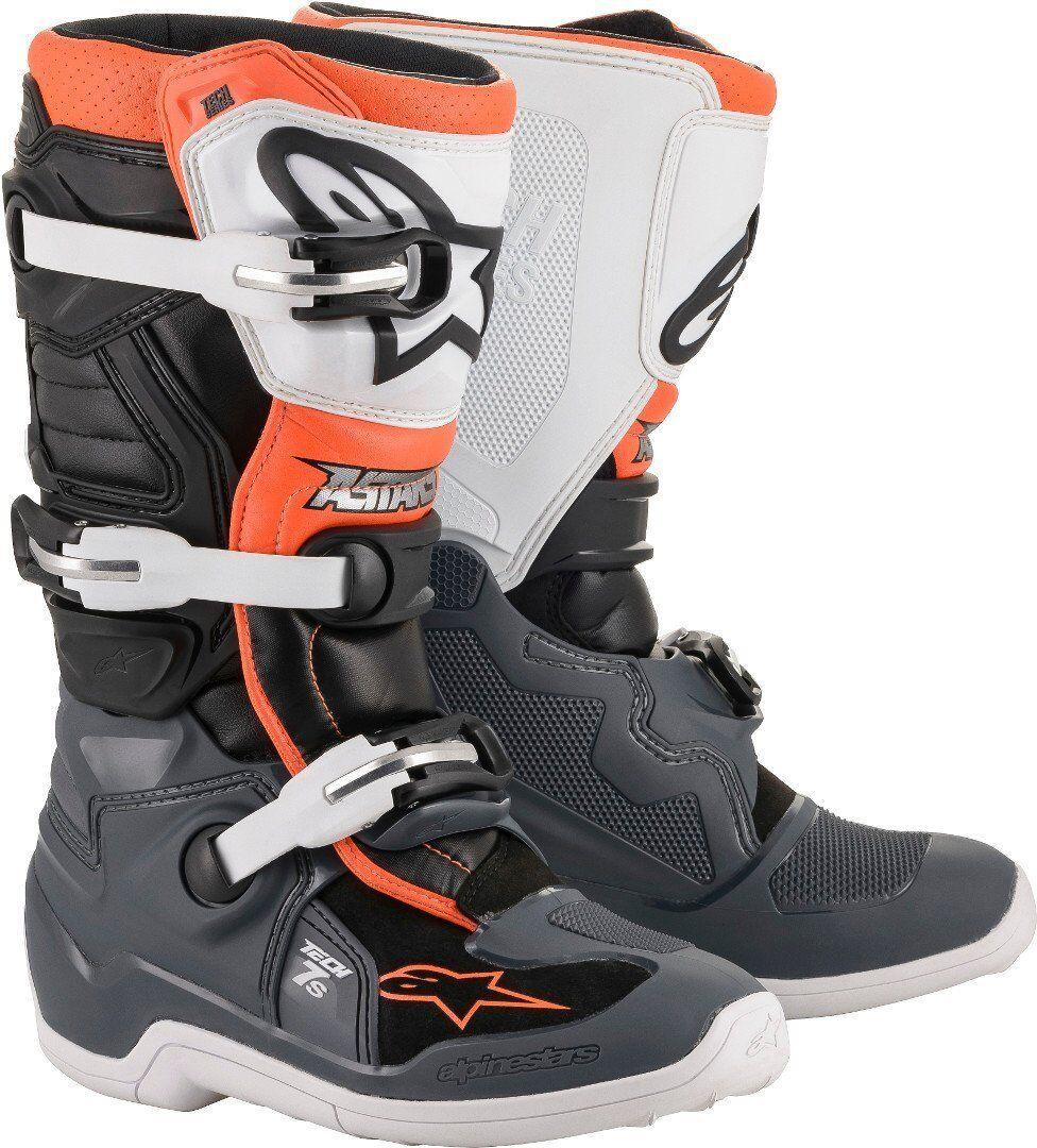 Alpinestars Tech 7S Bottes de motocross pour les jeunes Gris Blanc Orange taille : 38
