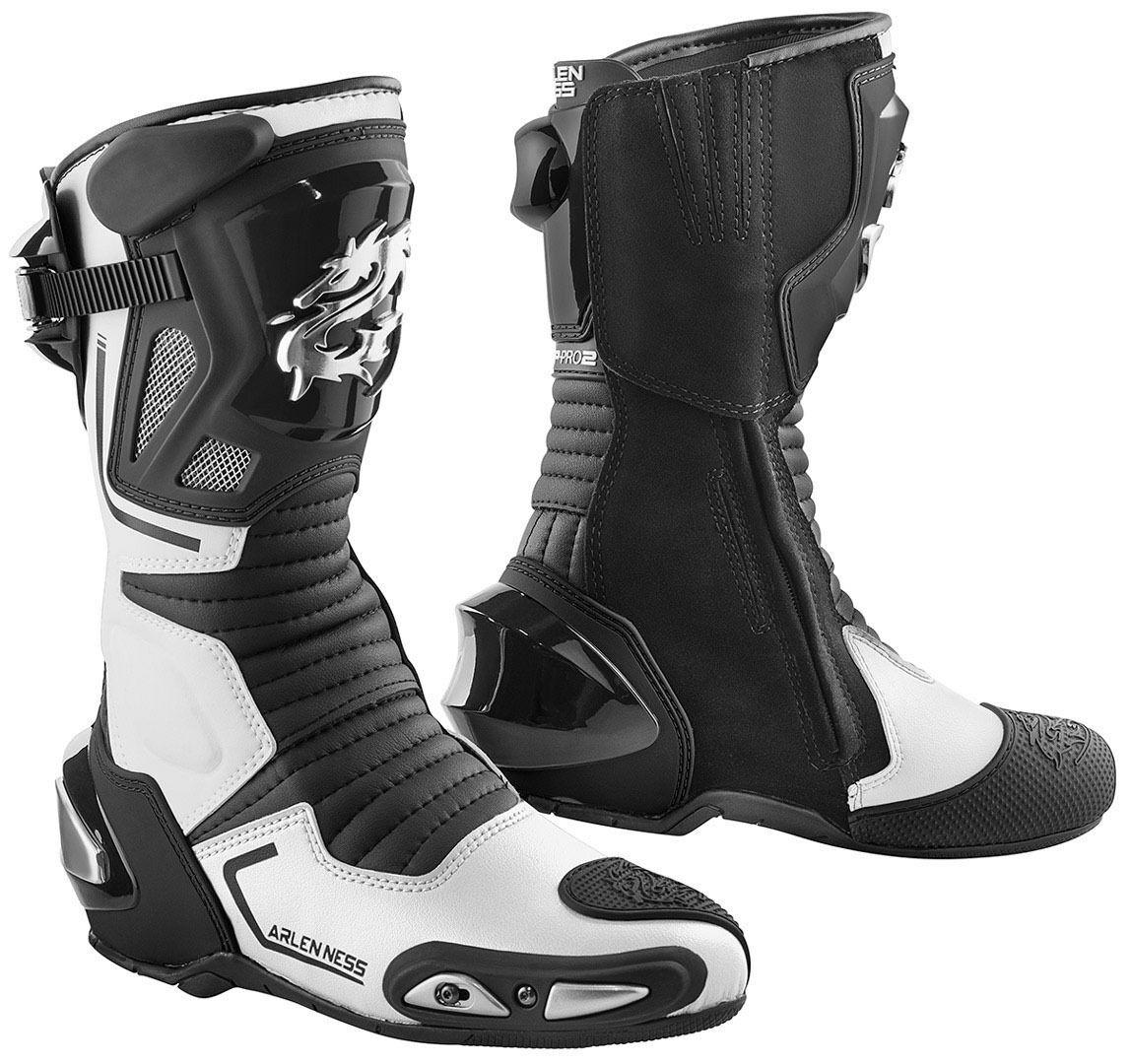 Arlen Ness Sugello Bottes de moto Noir Blanc taille : 47