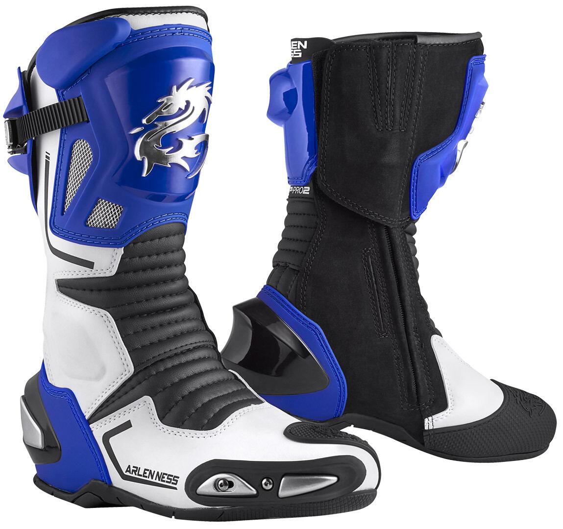 Arlen Ness Sugello Bottes de moto Noir Blanc Bleu taille : 45