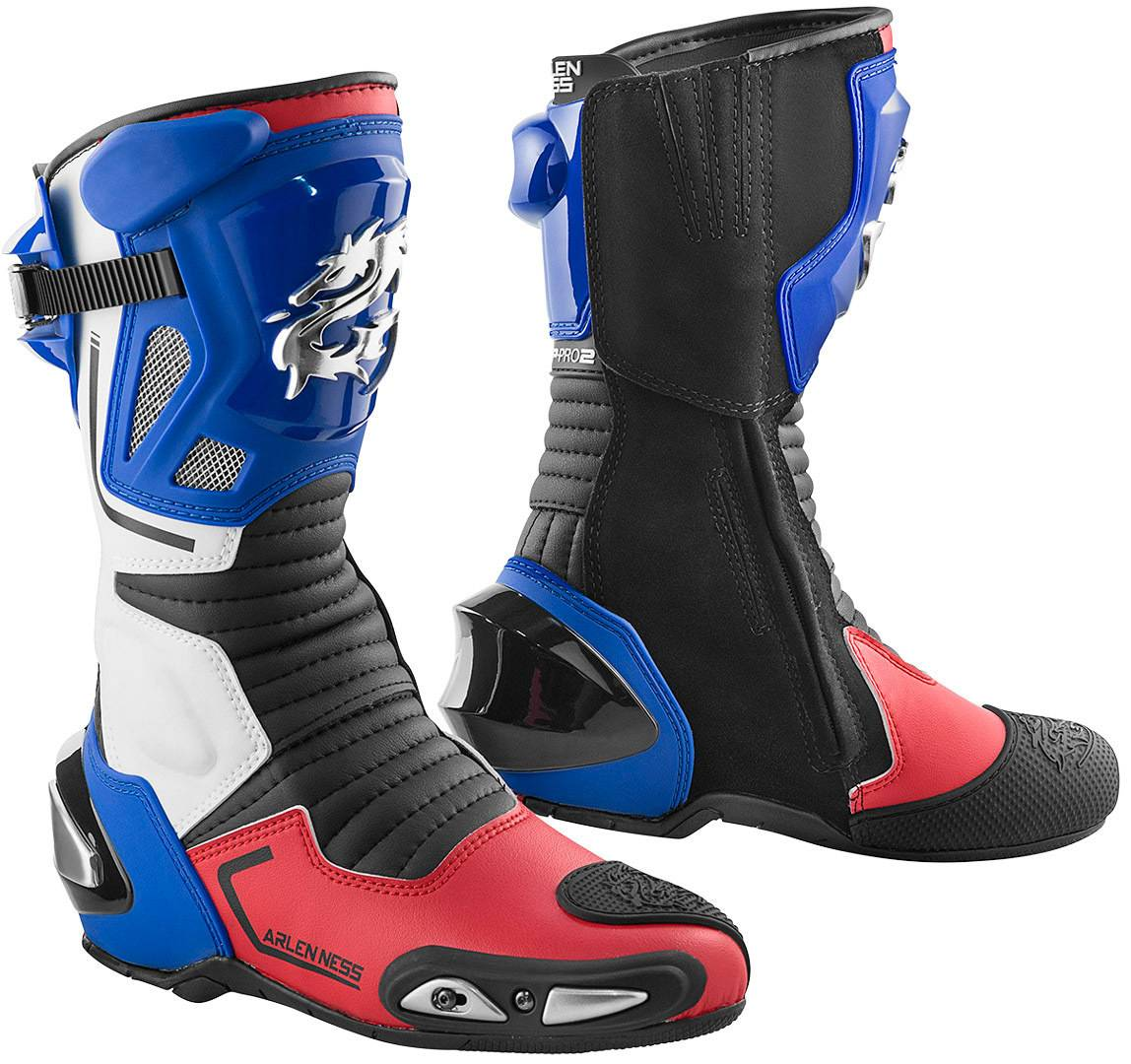 Arlen Ness Sugello Bottes de moto Blanc Rouge Bleu taille : 45