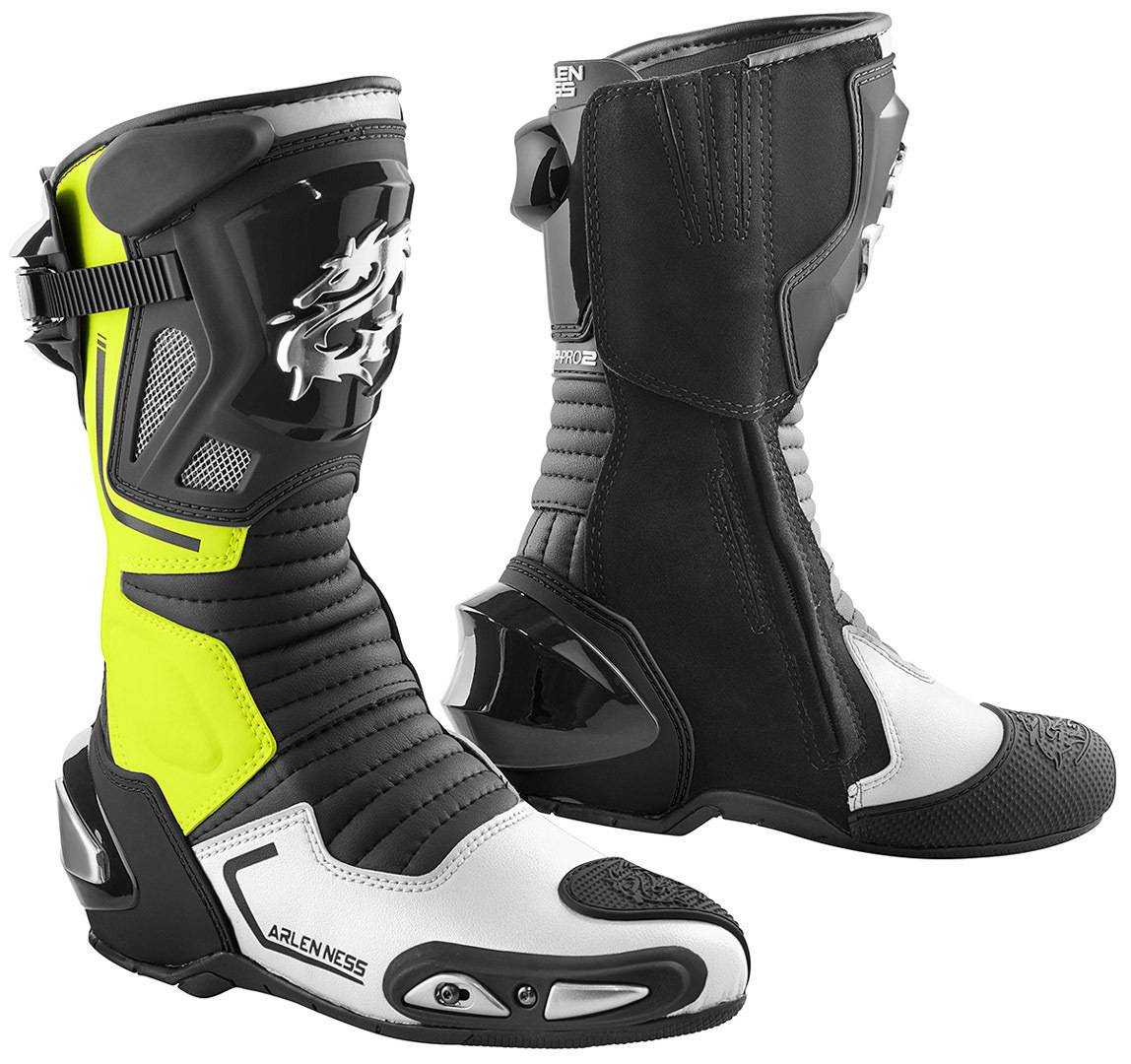 Arlen Ness Sugello Bottes de moto Noir Jaune taille : 43