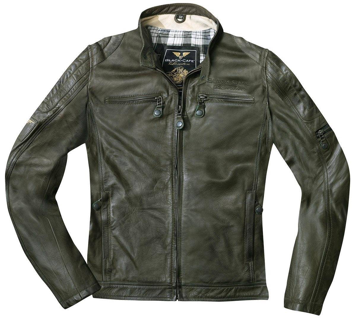Black-Cafe London Schiras Veste en cuir de moto Vert taille : 52