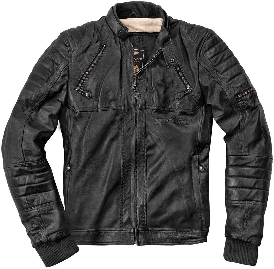 Black-Cafe London Ghom Veste en cuir de moto Noir taille : 56