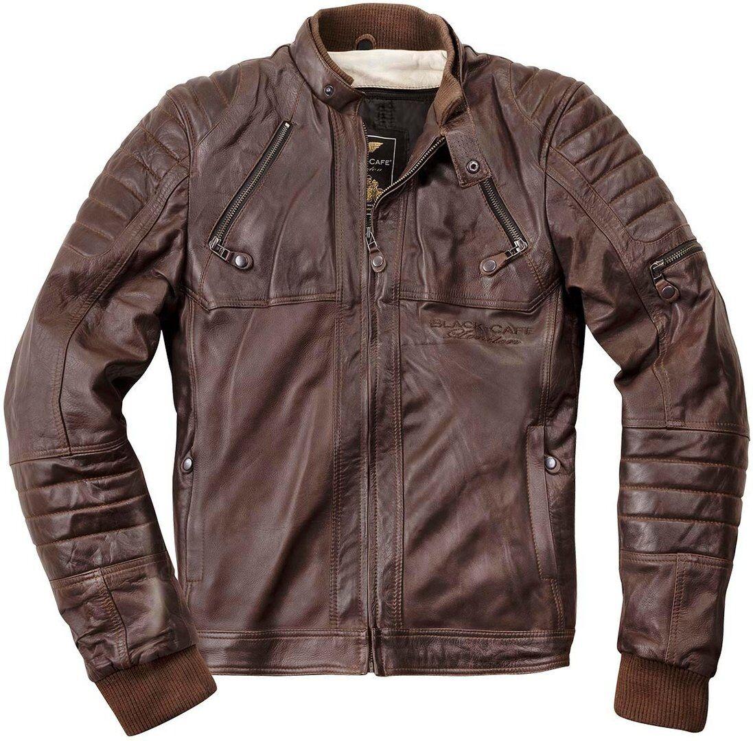 Black-Cafe London Ghom Veste en cuir de moto Brun taille : 52