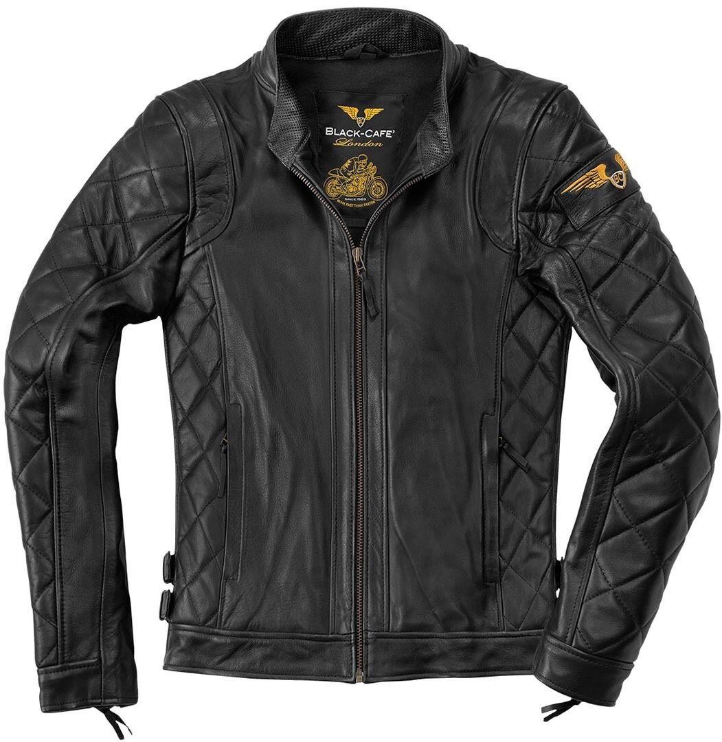 Black-Cafe London Gorgan Veste de moto en cuir Noir taille : 60