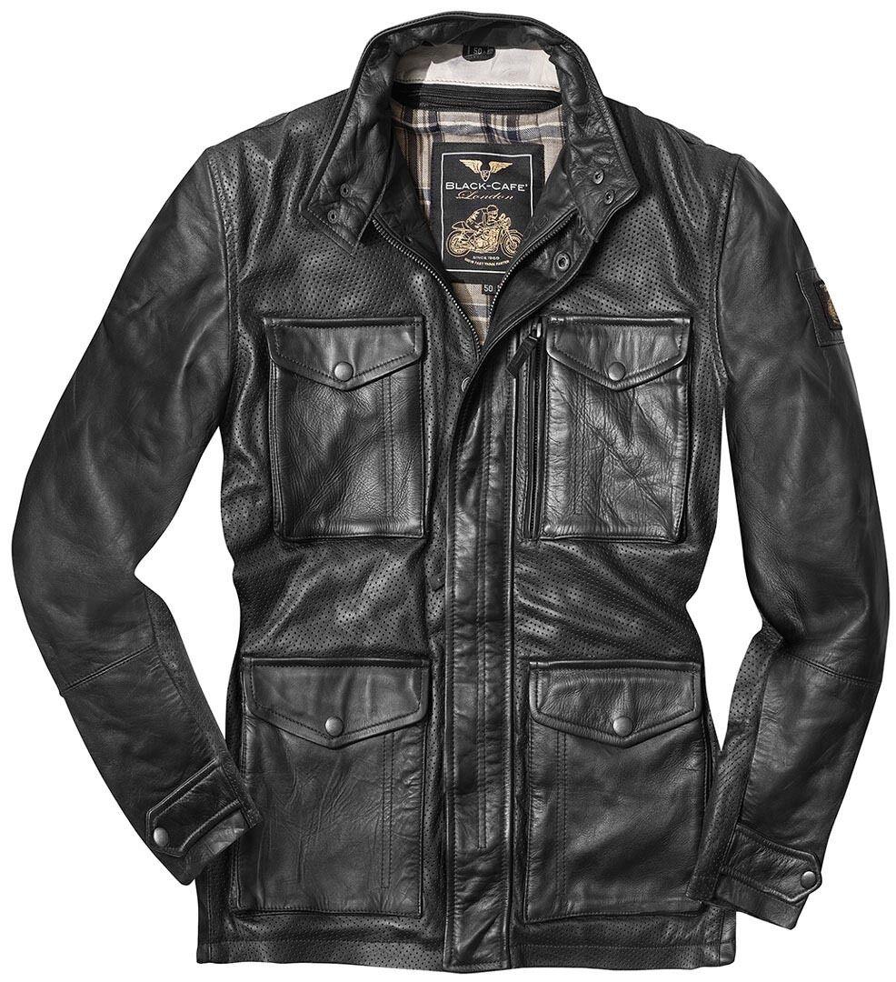 Black-Cafe London Classic Veste en cuir de moto Noir taille : 56