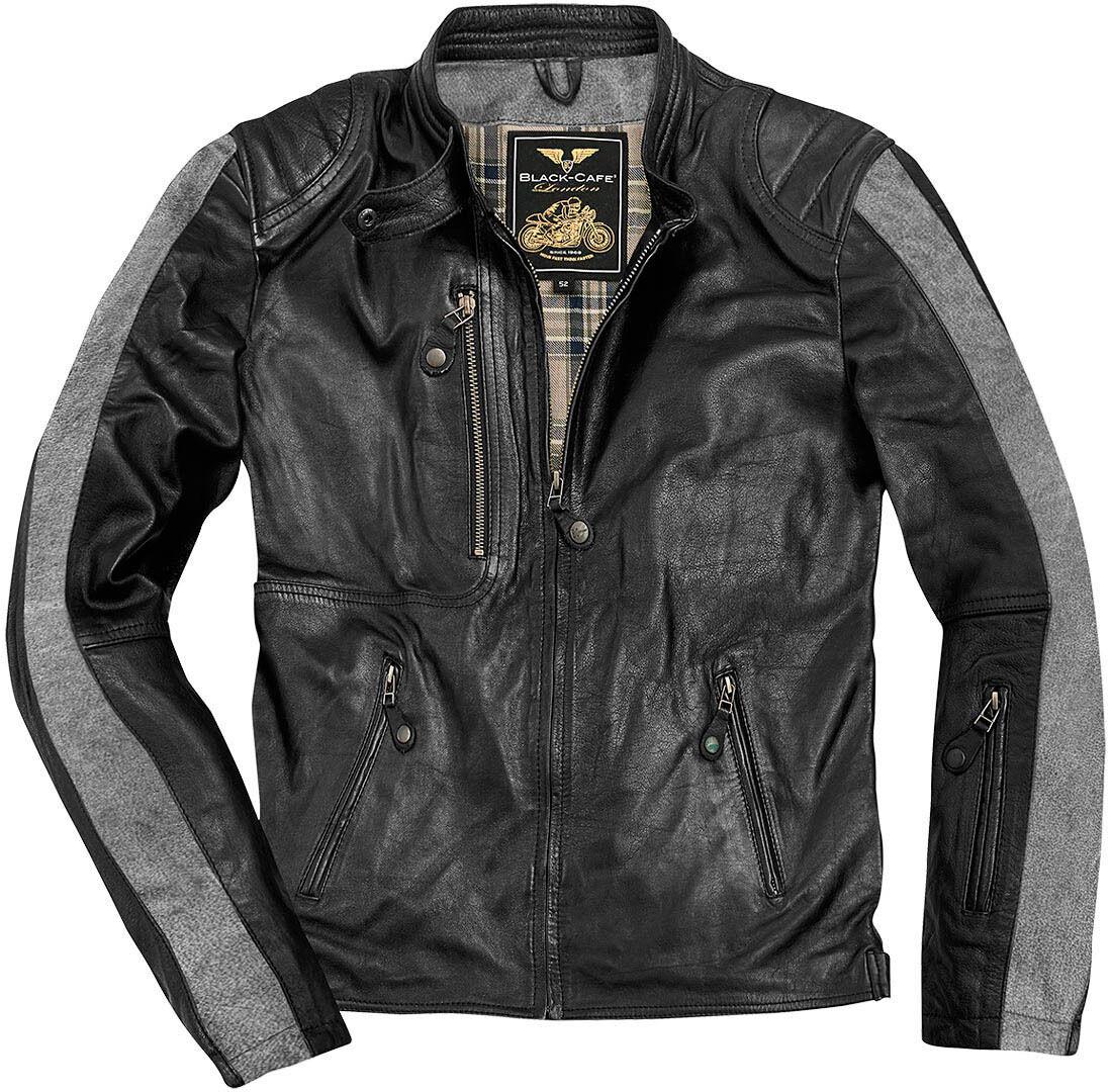Black-Cafe London Vintage Veste en cuir de moto Noir taille : 48