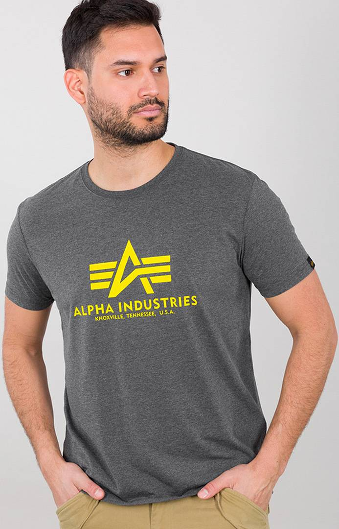 Alpha Industries Basic T-Shirt Gris Jaune taille : S