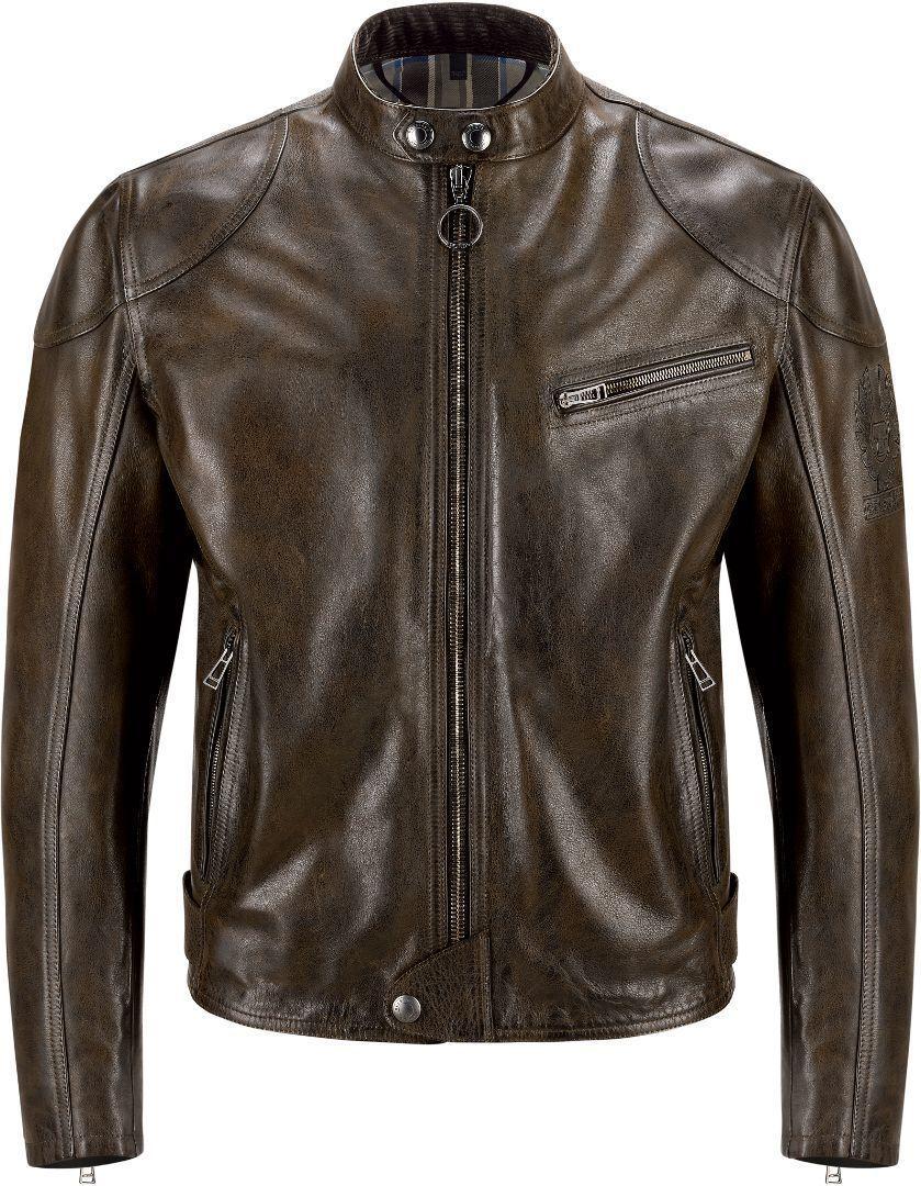 Belstaff Supreme Veste de moto en cuir Noir Brun taille : 2XL