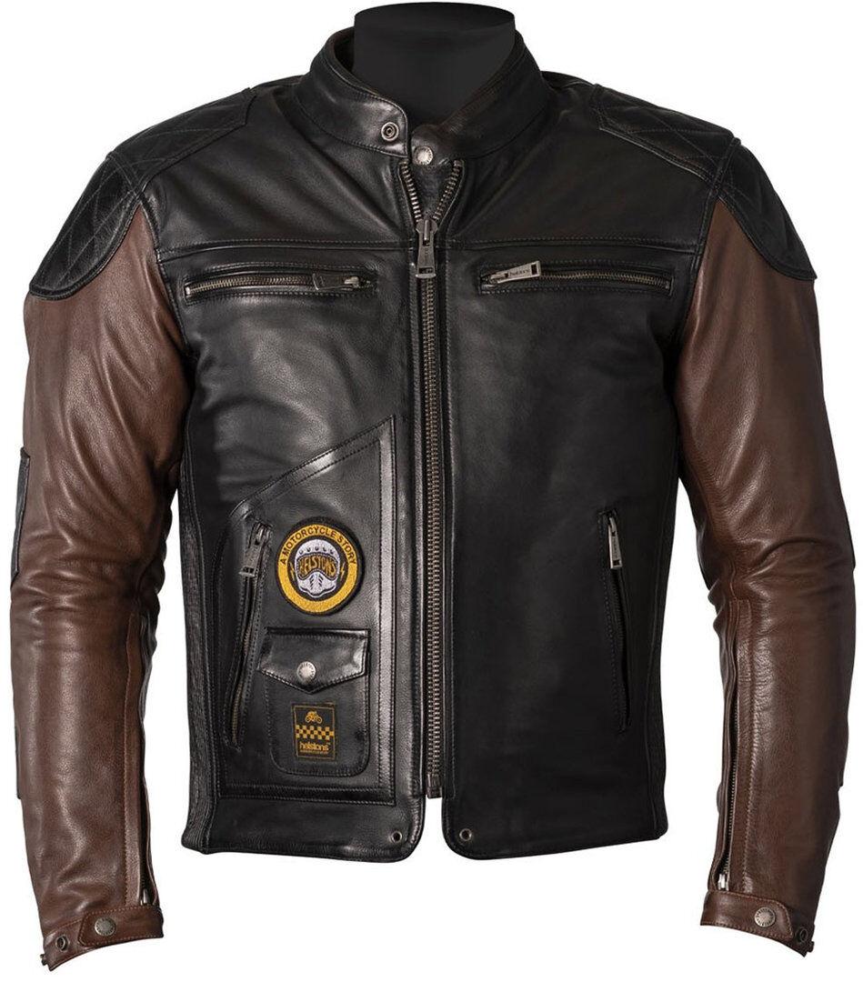 Helstons Tracker Veste en cuir de moto Noir Brun taille : S