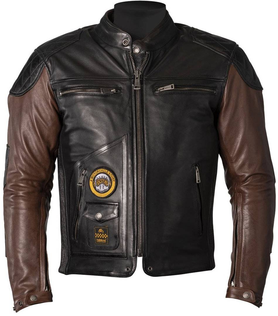Helstons Tracker Veste en cuir de moto Noir Brun taille : XL