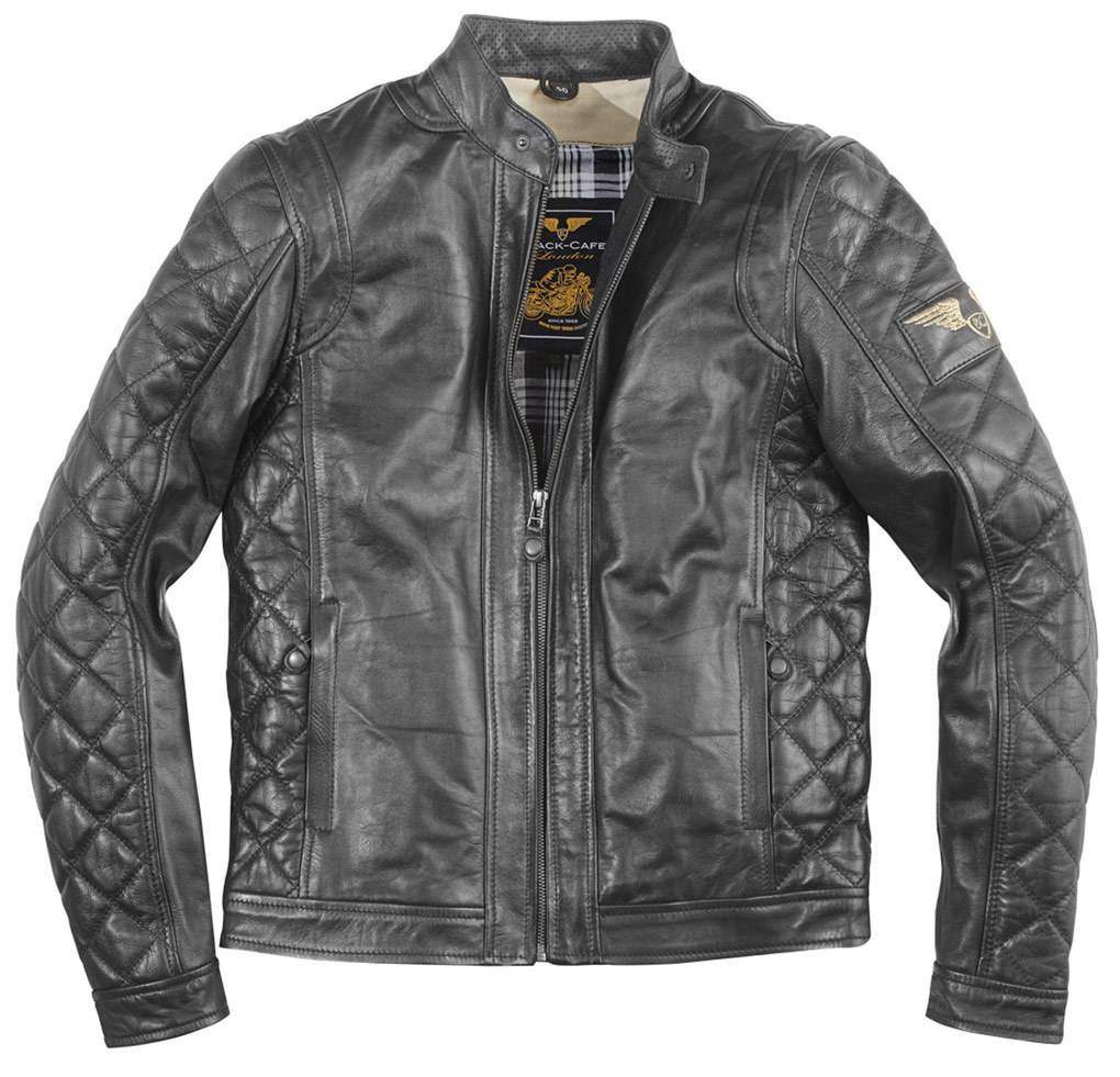 Black-Cafe London Gorgan II Veste en cuir de moto Noir taille : 48