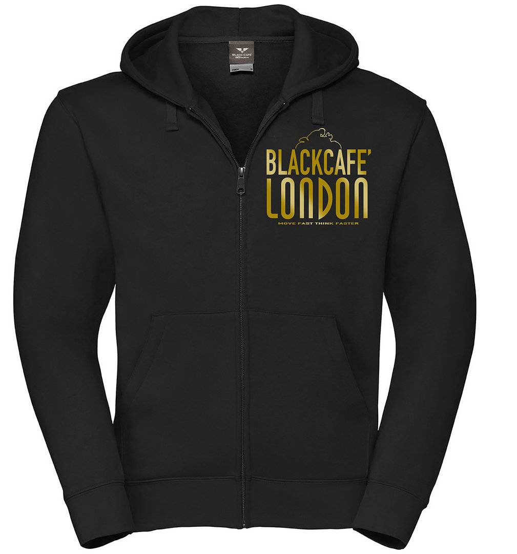 Black-Cafe London Classic Zip Hoodie Noir Or taille : M