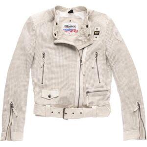 Blauer USA Moore Veste en cuir perforé Mesdames Gris Beige taille : S - Publicité
