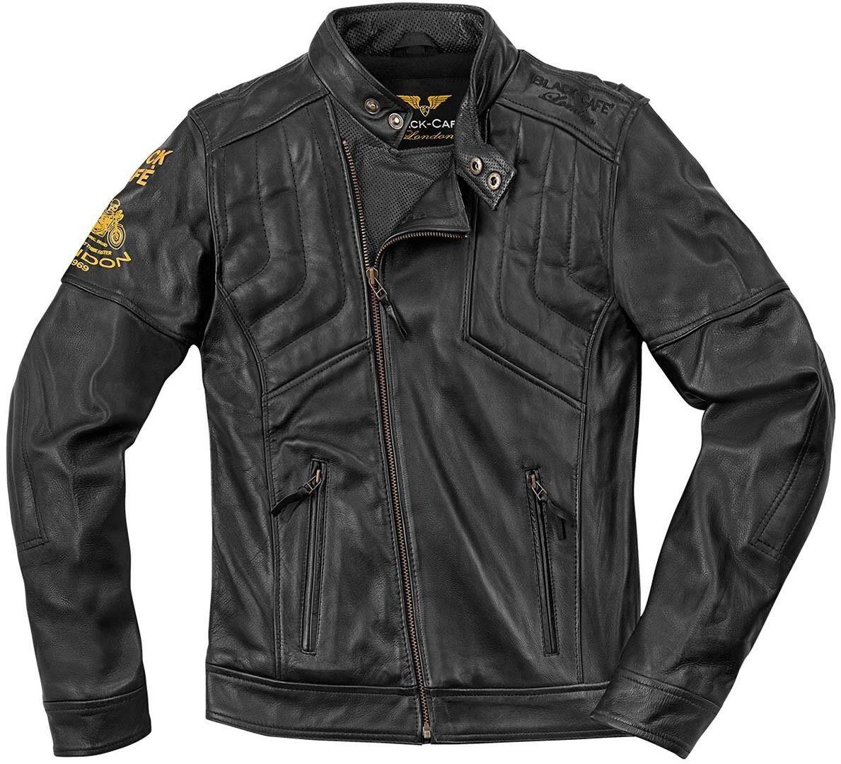 Black-Cafe London Sari Veste de moto en cuir Noir taille : 48