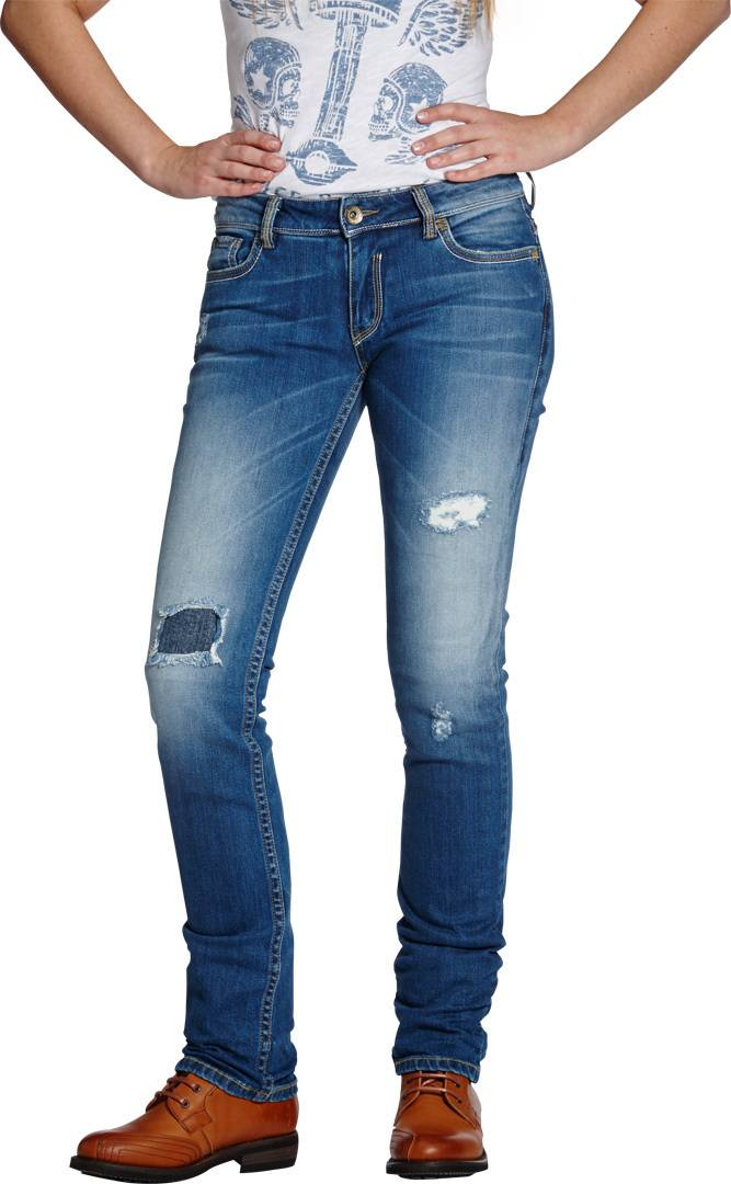 Rokker The Diva Distressed Pantalon dames Bleu taille : 32