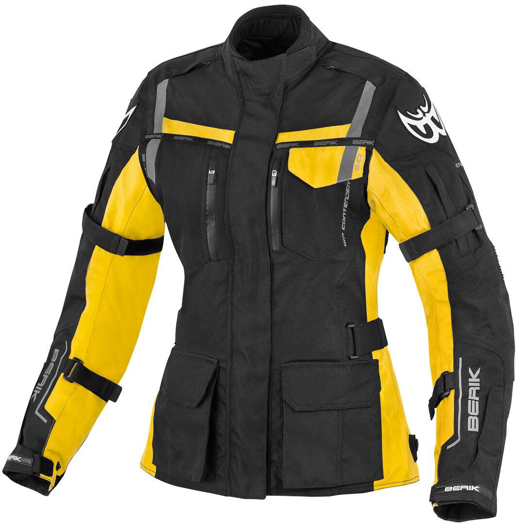 Berik Torino Veste imperméable à l'eau de textile de moto de dames Noir Jaune taille : 48