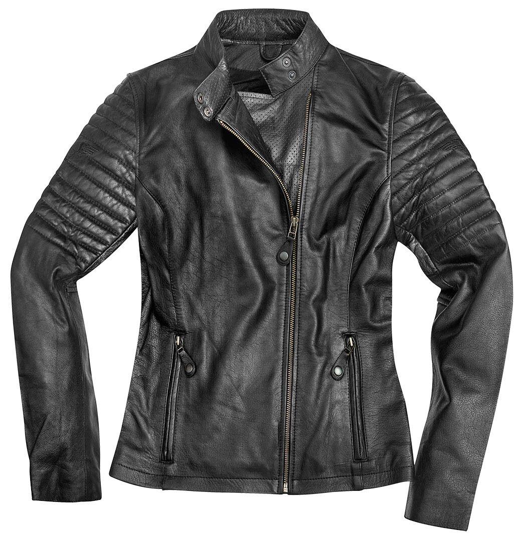 Black-Cafe London Shona Veste en cuir de moto de dames Noir taille : M