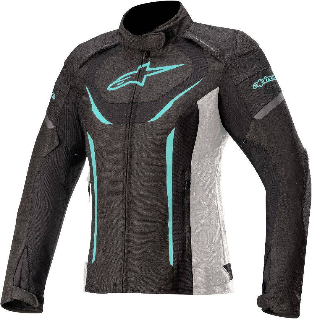 Alpinestars Stella T-Jaws V3 Veste imperméable à l'eau de textile de moto de dames Noir Blanc Bleu taille : XL