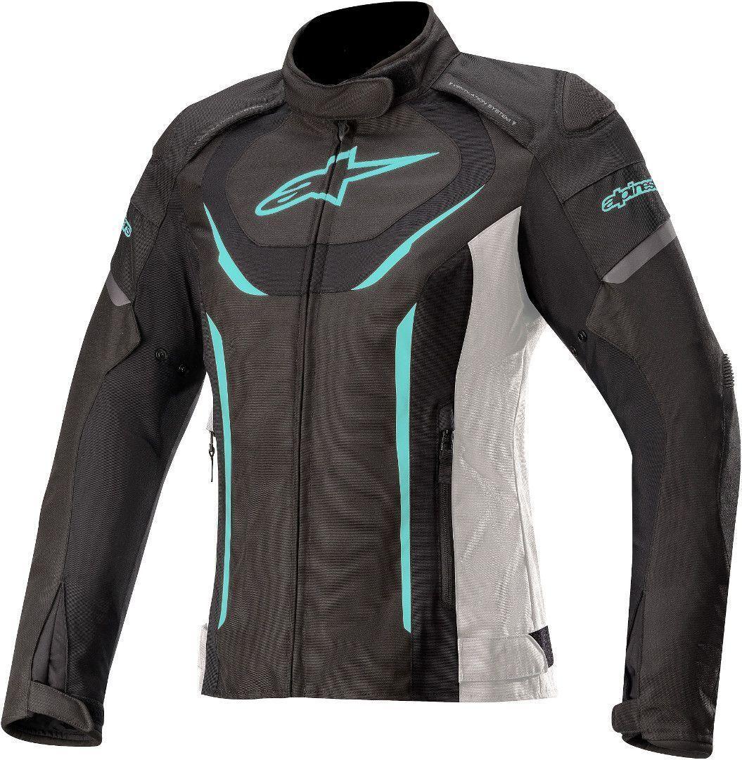 Alpinestars Stella T-Jaws V3 Veste imperméable à l'eau de textile de moto de dames Noir Blanc Bleu taille : 2XL