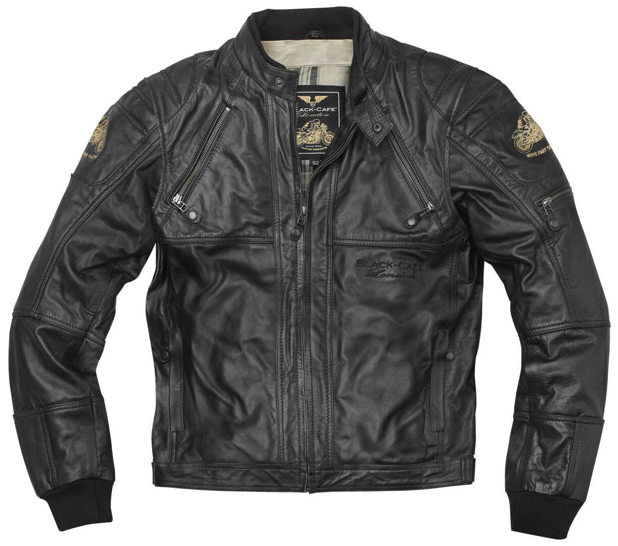 Black-Cafe London Dallas Veste en cuir de moto Noir taille : 56
