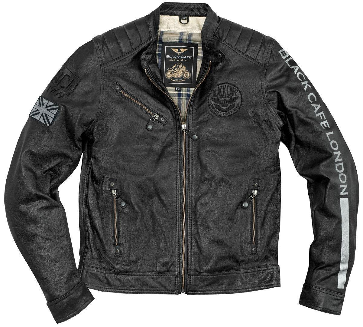 Black-Cafe London Shanghai Veste en cuir de moto Noir Blanc taille : 58