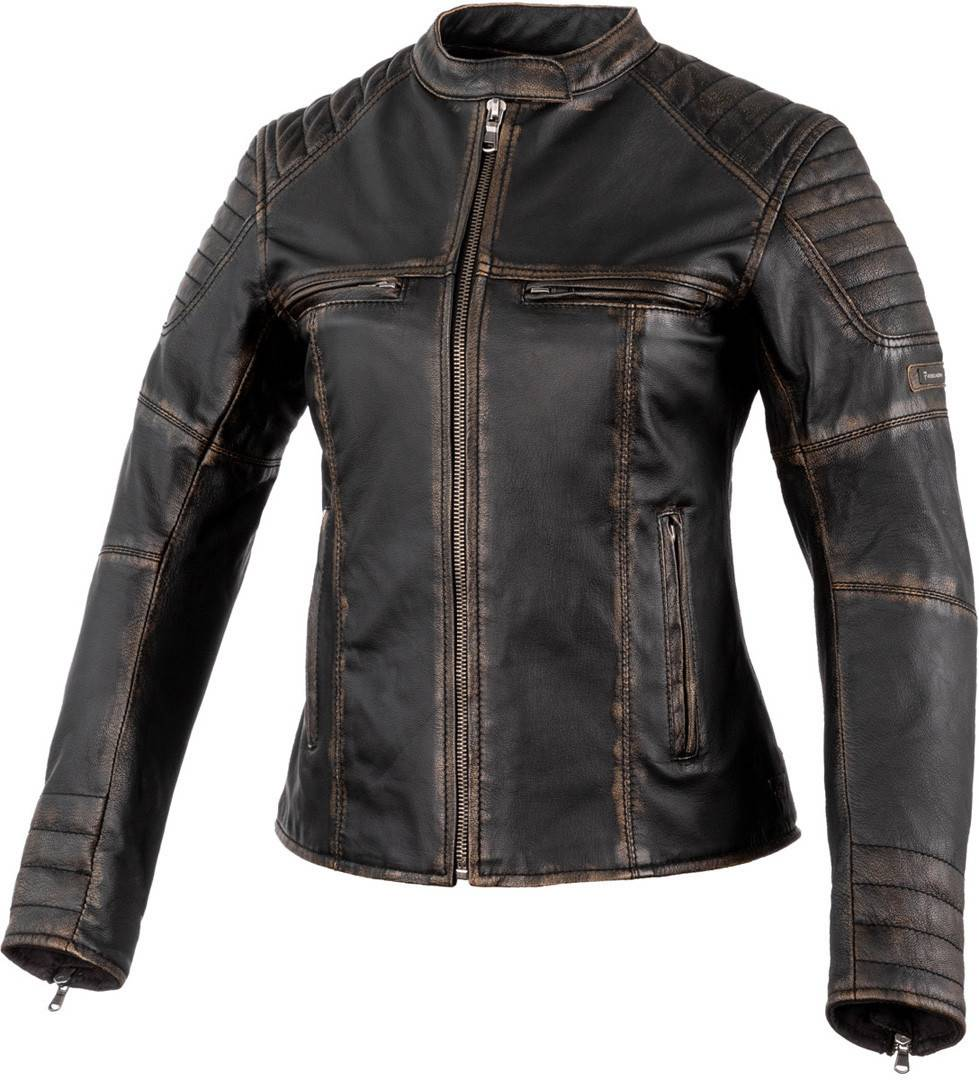 Rebelhorn Hunter Pro Veste en cuir de moto dames Noir Brun taille : S